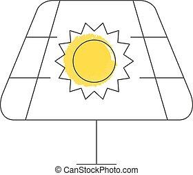 batterie, symbole, solaire