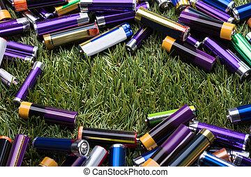 batterie, usato, vista elevata