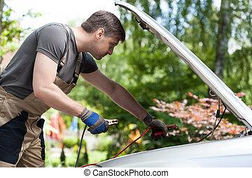 batterie, voiture, début, mécanicien, utilisation, câbles, ...