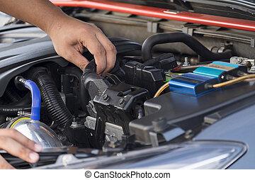 batterie, voiture, remplace, mécanicien