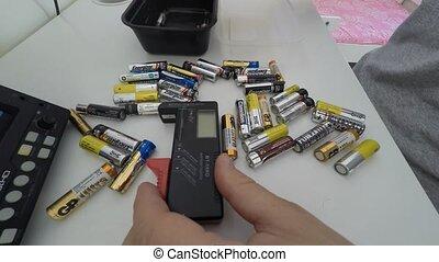 batterie, volt, contrôleur, numérique, testeur