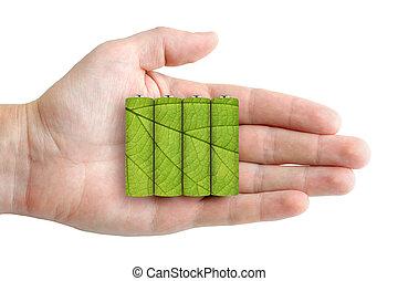 batterien, in, hand, -, ökologisch, energie, begriff
