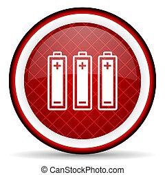 batterier, glatt, bakgrund, vit röd, ikon