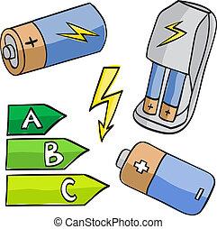 batterier, klassificerar, kraftfull, illustration