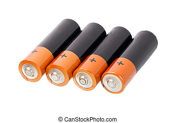 Batteries - A set a of AA size batteries on white background