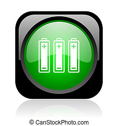 batteries black and green square web glossy icon