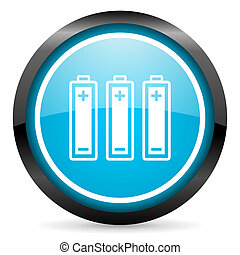 batteries blue glossy circle icon on white background