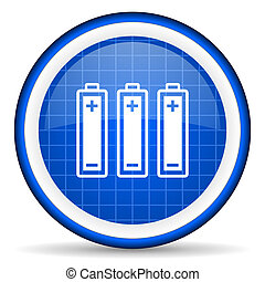 batteries blue glossy icon on white background