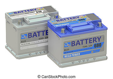batteries car, 3D rendering