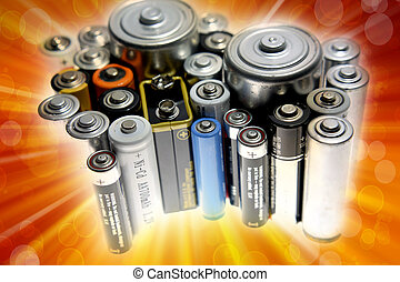 Close-up of assorted size disposable batteries