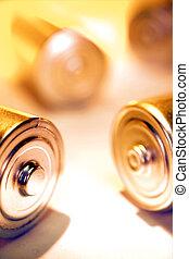 Closeup of disposable batteries. Studio shot