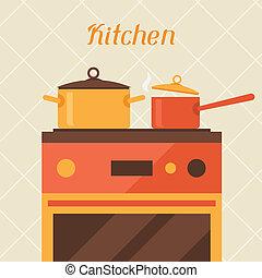 batteries cuisine, retro, four, style., carte, cuisine
