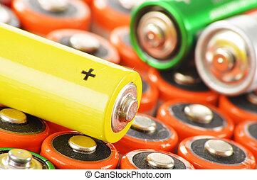 batteries., desperdicio, composición, alcalino, químico
