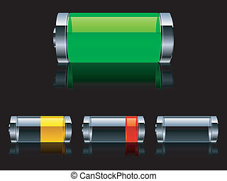 Four batteries with various level of charge.