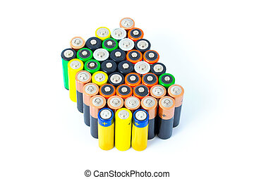 Batteries - Many AA sized batteries on white