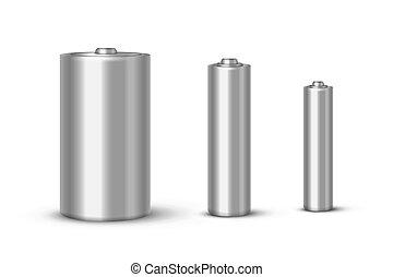 Batteries realistic vector illustrations set. Empty...