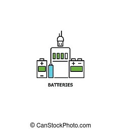 Batteries recycle concept icon in line design, vector flat illustration isolated on white background
