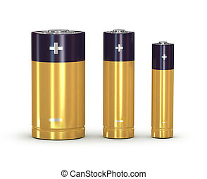 batteries set on a white background isolated