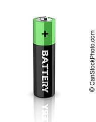 batterij, aaa, pictogram, 3d
