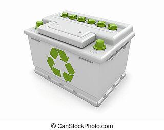 batterij, auto, teken., groene, hergebruiken