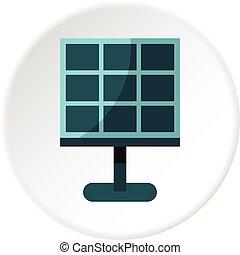 batterij, cirkel, zonne, pictogram