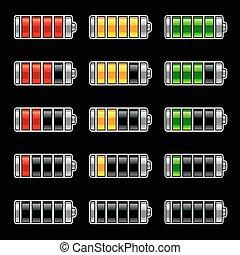 batterij, energie, bar, niveau