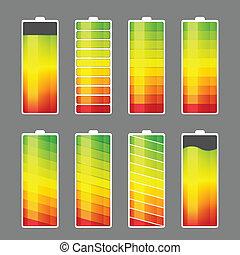 batterij, energie, meter, pictogram