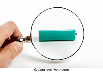 batterij, glas, groene, vergroten