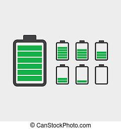 batterij, iconen, set