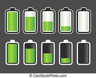 batterij, indicator, niveau