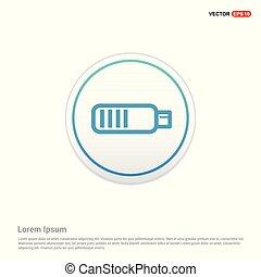 batterij, knoop, -, cirkel, witte , pictogram