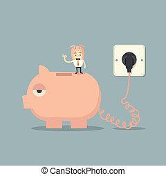 batterij, lader, piggy bank