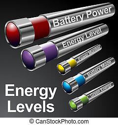 batterij, menu, de staven van de energie