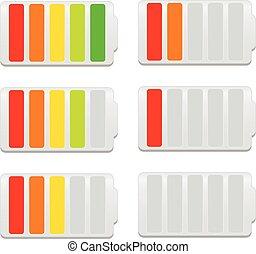 batterij, symbolen, indicator, niveau