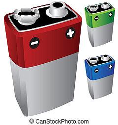 batterij, volt, negen