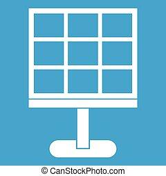 batterij, witte , zonne, pictogram