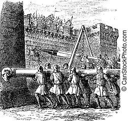 Battering Ram, vintage engraving. Old engraved illustration of battering rams being used on a castle.