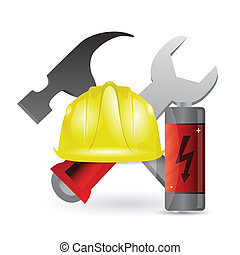 battery and construction tools illustration design