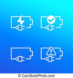 battery and electric plug vector icons