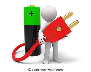 Battery and plug
