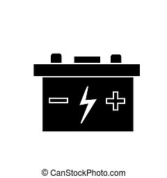battery auto icon, vector illustration, black sign on isolated background