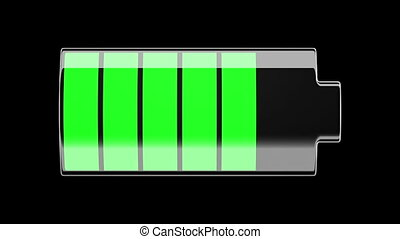 Battery Charging and Discharging with scale divisions. Isolated on black. HD 1080.