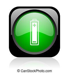 battery black and green square web glossy icon