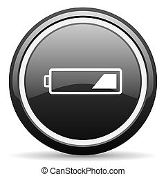 battery black circle glossy web icon