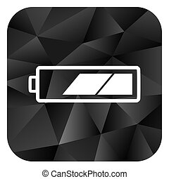 Battery black color web modern brillant design square internet icon on white background.
