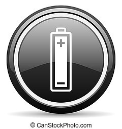 battery black glossy icon on white background