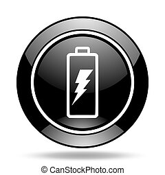 battery black glossy icon