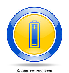 battery blue and yellow web glossy round icon