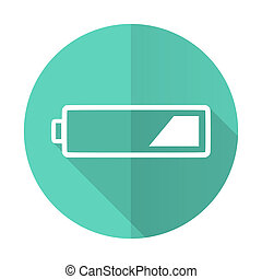 battery blue flat desgn circle icon with long shadow on white background