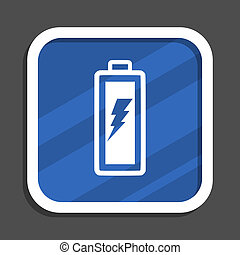Battery blue flat design square web icon